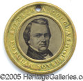 Political:Ferrotypes / Photo Badges (pre-1896), 1860 DOUGLAS/JOHNSON FERRO. Very scarce, larger-size 30 mm 1860 ...