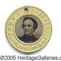 Political:Ferrotypes / Photo Badges (pre-1896), BRECKINRIDGE /LANE FERRO. Scarce 1860 Breckinridge/Lane ferro...
