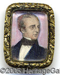 Political:Ferrotypes / Photo Badges (pre-1896), ABSOLUTELY STUNNING, SUPERB JOHN TYLER PORTRAIT BROACH PIN. Abso...