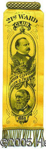 Political:Ferrotypes / Photo Badges (pre-1896), CLEVELAND-THURMAN JUGATE. Gorgeous large, fancy 1888 Cleveland-T...