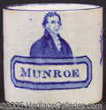Political:3D & Other Display (pre-1896), MONUMENTAL JAMES MONROE CERAMIC MUG. Although there are any numb...