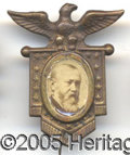 Political:Ferrotypes / Photo Badges (pre-1896), UNUSUAL BENJAMIN HARRISON PIN. Appealing frame and different por...