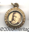 Political:Ferrotypes / Photo Badges (pre-1896), BLAINE-LOGAN CHARM. Choice, with bold portraits.