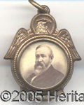 Political:Ferrotypes / Photo Badges (pre-1896), FANCY HARRISON-MORTON CHARM. Similar fancy Harrison-Morton charm...