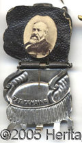 Political:Ferrotypes / Photo Badges (pre-1896), BENJAMIN HARRISON MECHANICAL CHAIR. Exceptional, Choice Benjamin...