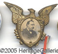 Political:Ferrotypes / Photo Badges (pre-1896), FANCY CLEVELAND PIN. Large, fancy Cleveland pin, in great shape,...