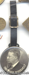 Political:Miscellaneous Political, 1912 TR FOB WITH MIRROR BACK. Great, large 1912 TR fob, with mir...