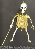 "Political:Pinback Buttons (1896-present), BRYAN MECHANICAL SKELETON STICK PIN. Rare, choice and ""mi..."