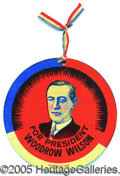 """Political:Pinback Buttons (1896-present), WILSON LITHO TIN DISK. Gorgeous, choice, large 4"""" Wilson litho t..."""