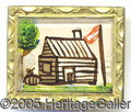 Political:Ferrotypes / Photo Badges (pre-1896), GORGEOUS, HAND-PAINTED REVERSE-ON-GLASS W.H. HARRISON LOG CABIN ...
