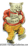 """Political:Pinback Buttons (1896-present), TR PIN. Ever-popular litho tin TR """"Teddy Bear"""" pin, weating his ..."""