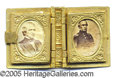 Political:Ferrotypes / Photo Badges (pre-1896), BRASS CHARM IN SHAPE OF BOOK. Classic brass charm in shape of bo...