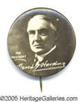 """Political:Pinback Buttons (1896-present), HARDING PINBACK. 1 1/4"""" size, minty condition."""