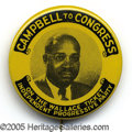 """Political:Pinback Buttons (1896-present), 1948 HENRY WALLACE COAT-TAIL BUTTON. Very rare 1 1/2"""" 1948 Henry..."""