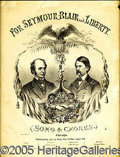 Political:Small Paper (pre-1896), SEYMOUR-BLAIR JUGATE SHEET MUSIC. Cover (only) of very scarce Se...