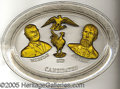 Political:3D & Other Display (1896-present), BRYAN-KERN OVAL GLASS PLATTER. Beautiful and very scarce 1908 Br...