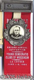 Political:Ribbons & Badges, FDR RIBBON BADGE. 1934-dated FDR ribbon badge with fob, from Wis...