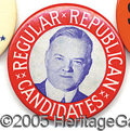 Political:Pinback Buttons (1896-present), LARGE HOOVER BUTTON. Great, colorful, large Hoover button, in fi...