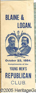 Political:Small Paper (pre-1896), BLAINE AND LOGAN JUGATE PAPER. Nice 1884-dated Blaine and Logan ...