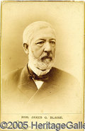 Photography:Cabinet Photos, BLAINE CABINET PHOTO. Fine 1884-dated Blaine Cabinet photo, by B...
