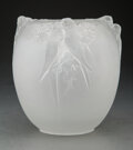 Glass, Limited Edition Lalique Frosted Glass Perruches Vase with Original Fitted Box, 2010