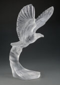 Glass, Lalique Frosted Glass Golden Eagle Sculpture with Original Wheeled Crate, circa 2014...