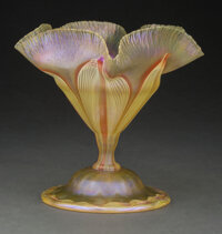 Tiffany Studios Pulled Feather Favrile Glass Floriform Vase with Decorated Foot, circa 1910 Marks: o8087 6 inches (15...
