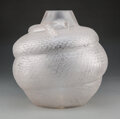Glass, R. Lalique Frosted Glass Serpent Vase, circa 1924. Marks: R. LALIQUE
