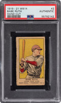 Baseball Cards:Singles (Pre-1930), 1919-21 W514 Babe Ruth #2 PSA Authentic. The most...