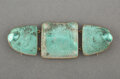 Jewelry, R. Lalique Gilt Metal and Frosted Glass Biches Triptych Brooch with Charcoal Patina and Teal...