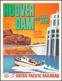 """Hoover Dam and Lake Mead (Union Pacific Railroad, 1955). Very Fine on Linen. Travel Poster (12"""" X 15.5""""). Misc..."""
