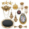 Estate Jewelry:Lots, Victorian Multi-Stone, Seed Pearl, Enamel, Portrait, Gold, Gold-Filled Jewelry. ... (Total: 9 Items)
