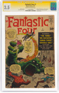 Silver Age (1956-1969):Superhero, Fantastic Four #1 Signature Series: Stan Lee (Marvel, 1961) CGC GD+ 2.5 Cream to off-white pages....