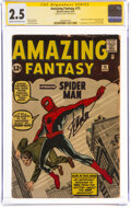 Silver Age (1956-1969):Superhero, Amazing Fantasy #15 Signature Series: Stan Lee (Marvel, 1962) CGC GD+ 2.5 Cream to off-white pages....