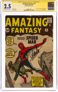Amazing Fantasy #15 Signature Series: Stan Lee (Marvel, 1962) CGC GD+ 2.5 Cream to off-white pages