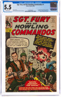 Silver Age (1956-1969):War, Sgt. Fury and His Howling Commandos #1 (Marvel, 1963) CGC FN- 5.5 Off-white pages....