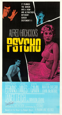 """Psycho (Paramount, 1960). Very Fine- on Linen. Autographed Three Sheet (41"""" X 79"""")"""