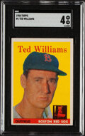 Baseball Cards:Singles (1950-1959), 1958 Topps Ted Williams #1 SGC VG/EX 4. The first ...