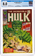 Silver Age (1956-1969):Superhero, The Incredible Hulk #102 (Marvel, 1968) CGC VF 8.0 Off-white to white pages....