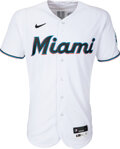Baseball Collectibles:Uniforms, 2021 Jazz Chisholm Game Worn & Signed Miami Marlins Jersey, MLB Authentic - 4-1 vs. Rays. ...