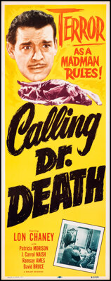 """Calling Dr. Death (Realart, R-1953). Rolled, Very Fine. Insert (14"""" X 36""""). Mystery"""