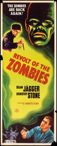 """Movie Posters:Horror, Revolt of the Zombies (Favorite Film, R-1947). Fine+. Insert (14"""" X 36""""). Horror.. ..."""
