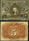 Fr. 1232SP 5¢ Second Issue Narrow Margin Specimen Pair About New