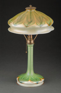 Fine Tiffany Studios Pulled Feather Favrile Glass Table Lamp, circa 1910 Marks: L.C. Tiffany, Favrile 16-1/4 inches (4...