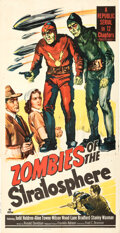 """Movie/TV Memorabilia:Posters, Zombies of the Stratosphere & Other Lot (Republic, 1952). Folded & Flat Overall: Very Fine+. Three Sheet (41"""" X 81""""),..."""