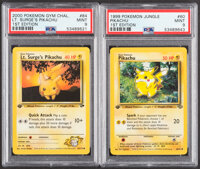 Pokémon Pikachu #60 First Edition Jungle and First Edition Lt. Surge's Pikachu #84 Gym Challenge Sets Trading Car...