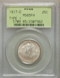 1917-D 25C Type One MS65 Full Head PCGS. PCGS Population: (333/193). NGC Census: (186/87). CDN: $1,140 Whsle. Bid for NG...