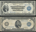 Fr. 713 $1 1918 Federal Reserve Bank Note Very Fine; Fr. 851b $5 1914 Federal Reserve Note Fine-Very Fine. ... (Total: 2...
