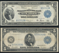 Fr. 713 $1 1918 Federal Reserve Bank Note Very Fine; Fr. 851b $5 1914 Federal Reserve Note Fine-Very Fine.<... (T...