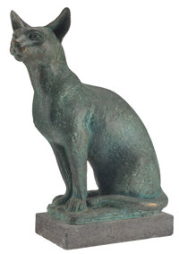 Charles Umlauf (American, 1911-1994) Egyptian Cat Bronze with blue/green patina 19-1/4 inches (48.9 cm) high on a 2 i